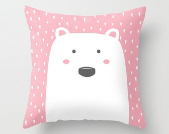Cushion cute polar bear print design, throw pillow, nursery, baby, pink, girls, plushie