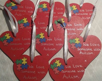 Autism support heart decoration