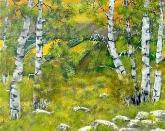 """Tableau acrylique, paysage de campagne et de forêt de bouleaux """" Bouleaux 2 """""""