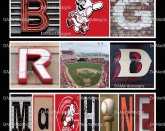 Cincinnati Reds Big Red Machine  Alphabet Photo Art