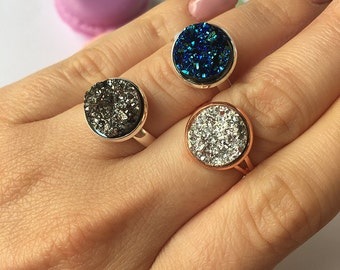 3 Colors to choose - Resin Druzy Ring Statement Rose Gold or Silver adjustable ring Blue Silver or Grey Druzy, with macaron storage box