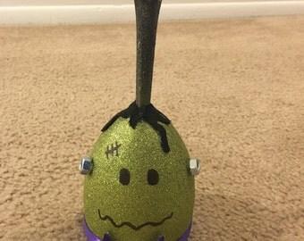 Halloween Frankenstein wine glass candle holder