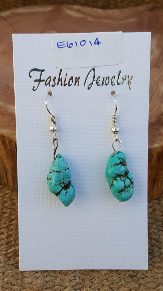 Turquoise Earrings / Asymmetrical Turquoise Stone / Semi Precious Stone / Dangle Earrings / Hippie Earrings / Boho Jewelry /E61014