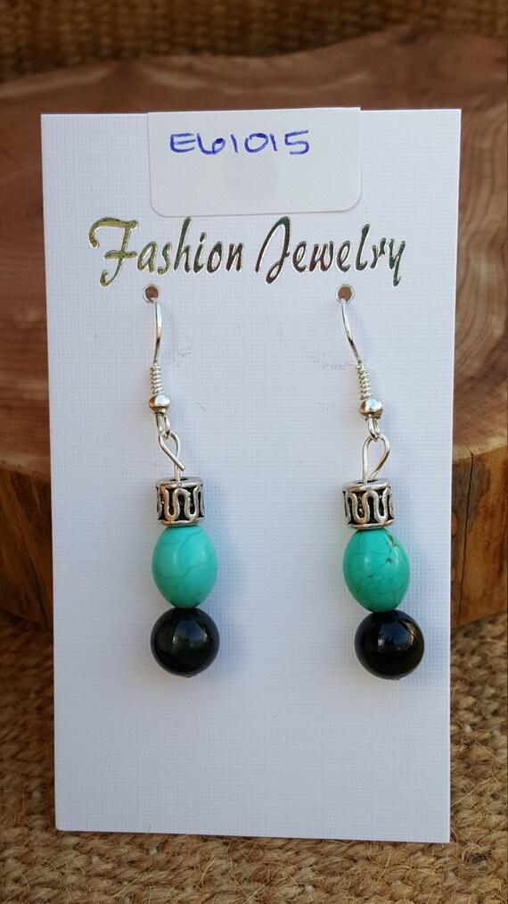 Turquoise Earrings / Turquoise and Black Stones  / Semi Precious Stone / Dangle Earrings / Hippie Earrings / Boho Jewelry /E61015