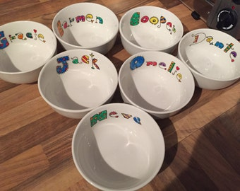 Personalised hand painted cereal bowl