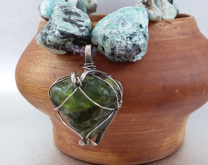 The Heart of The Desert Arizona Tumbled Peridot and Chrysocolla Sterling Silver Collar Necklace