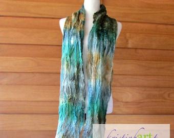 Super Soft Alpaca Scarf / Handmade Felted / Art / Turquoise / Green / Gold / Gray / Alpaca / Merino Wool / Silk / Cobweb / Soft / Very Light