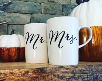 Mr. and Mrs. Bridal Mug Set, Personalized Mugs, Coffee Mugs, Wedding Gift, Custom Wedding Gift