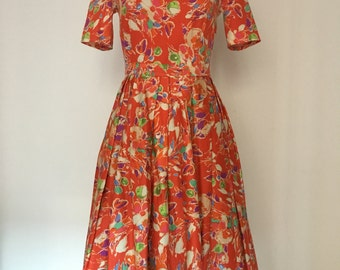 Orange Blossoms Vintage Dress Skirt Pleated Cotton