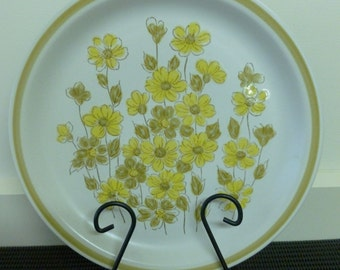 "Vintage 1960/70's ""Spring Bouquet"" Stoneware Hand Decorated Large Dinner Plate/Serving Tray/Platter/Cake Plate Dishwasher Oven Safe Japan"
