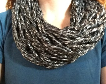 Black and gray infinity scarf