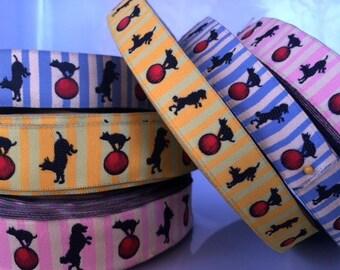 Circus dogs jacquard ribbon