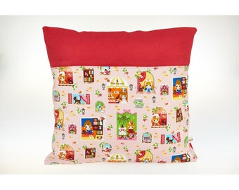 Soft Cushion cover for child in cotton and polar, washable, little girls.