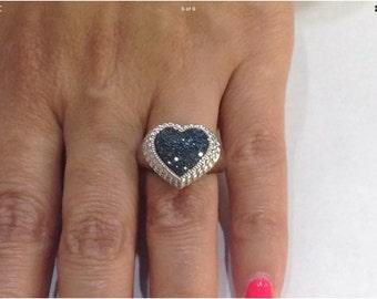 Loving blue diamonds,sterling silver heart ring byAJ,size7