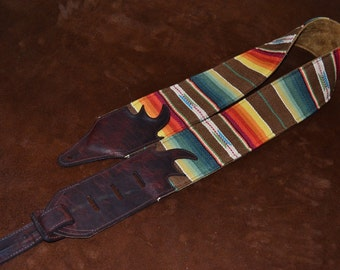 Carlino Santa Fe Aztec Saddle Blanket Style Fabric and suede guitar strap