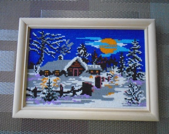 Cross Stitched Winter Night
