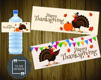 2 Designs Thanksgivings Day DIY Printable Water Bottle Labels Thanksgivings Party Water Bottle Labels Ready to print PDF Turkey design