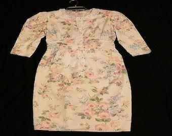 My Michelle  1980's Vintage  Casual white pastel flower print dress