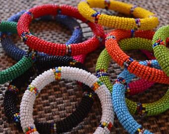 Maasai Beaded Bangles. African Bead Bracelets.