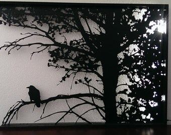 Raven in Tree Silhouette Cut out with back lighting