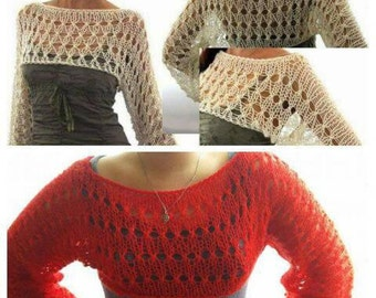 Women bolero sleeves knitting.hand-knitted blouse.