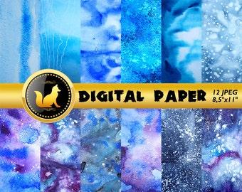 Blue Space Galaxy Watercolor Digital Paper,Watercolor Scrapbook Paper,Watercolor Background,Watercolor Space,Space paper,scrapbooking paper