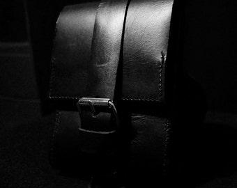 Sturdy leather biker bag