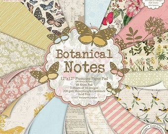 """Lot of 16 papers Fantaisis """"First Edition"""" 30.5 cm BOTANICAL NOTES"""