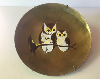 Vintage Enamel Plate with Owl Design