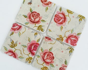 Handmade Emma Bridgewater Natural Stone Coasters Set of 4 Rose and Bee