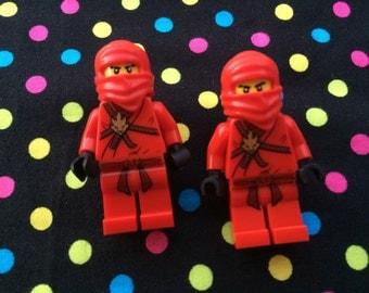 Red Ninja Figure Cufflinks...Handmade using LEGO® parts