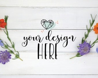 Floral Desktop | flowers and White Wood |Stock Photography | Styled Desktop