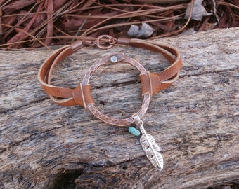 Hammered Copper and Leather Bracelet, Hand Forged, Riveted, Rustic Boho Jewelry