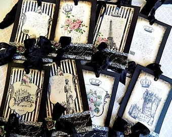 8 French Inspired Hang Tags - Cottage chic - Gift Tag - Black White Embellished