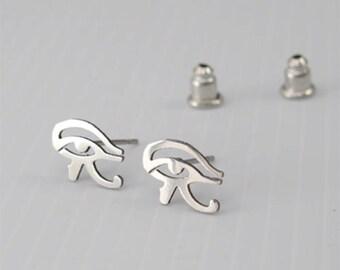Silver Stainless Steel Egypt Eye Of Horus Ra Egyptian Stud Earrings