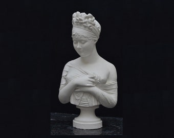 Sculpture, MADAME RECAMIER, a bust made by Jean-Antoine Houdon, Plaster of Paris