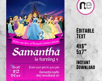 SALE!! disney princess, disney, princess party, ariel, cinderella, princess, elsa, princess birthday, editable invitation, snow white