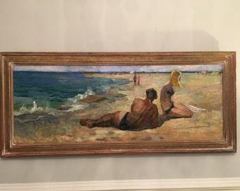 Couple On Beach By Boris Ivanovitch Tokmin