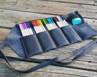 Black Leather Pencil Roll, 24 ct, Leather pencil case, pen case, pen roll, leather marker roll, leather pencil wrap, sketch roll