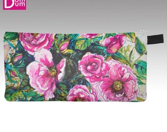 Case with pencil or makeup, watercolor print wild roses