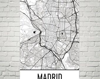 Madrid Map, Madrid Art, Madrid Print, Madrid Spain Poster, Madrid Wall Art, Madrid Gift, Map of Madrid, Madrid Decor, Madrid Map Art Print
