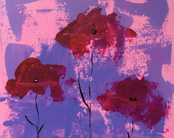 Painting 'Poppies in pink'
