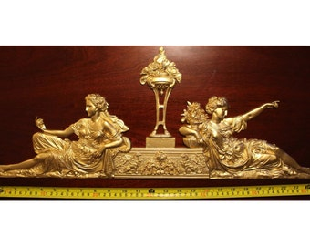 Large French Louis XVI Style Decorative Wall Furniture Applique Moulding Pediment Gold Gilt Plastic Decoration