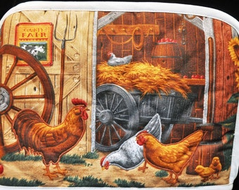 2 Slice Toaster Cover - Barnyard Chickens