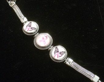 interchangeable snap breast awareness bracelet