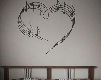 Heart - music note - vinyl - wall decal