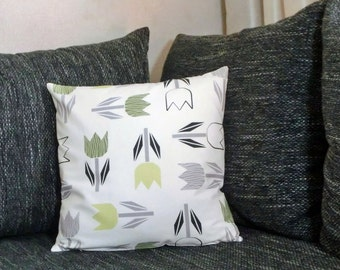 "Cushion cover 40 x 40 cm ""Green tulips"""