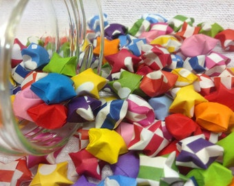 Assorted multicolor origami lucky stars - 50 stars - 3D stars - rainbow lucky star