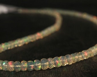 Long faceted Opal chain Welo Opal Necklace