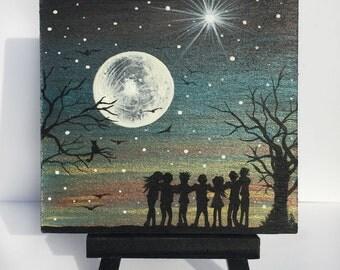 full moon group hug - silhouette - miniature original painting on wood